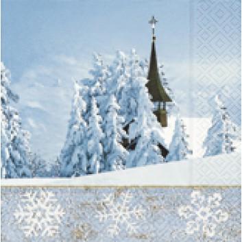 Paper + Design Winter-Cocktail-Servietten; 25 x 25 cm; Winterly; blau-weiß; 50620; 3-lagig; 1/4 Falz (quadratisch); Zelltuch
