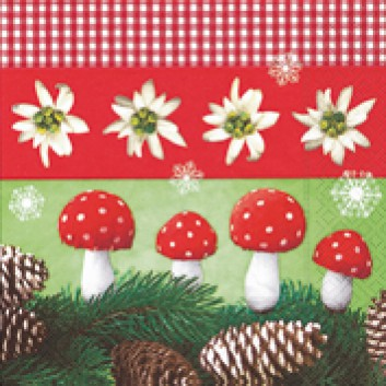 Paper + Design Winter-Cocktail-Servietten; 25 x 25 cm; Christmas nature; rot-grün; 50710; 3-lagig; 1/4 Falz (quadratisch); Zelltuch