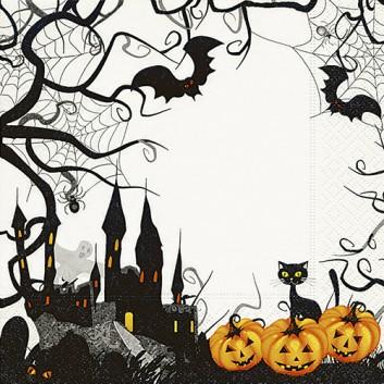 Paper + Design Servietten; 33 x 33 cm; Spooky Halloween; weiß-schwarz-orange; 200741; 3-lagig; 1/4 Falz (quadratisch); Zelltuch