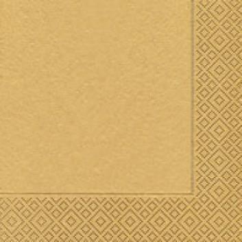 Paper + Design Servietten; 33 x 33 cm; uni; gold; 20085; 3-lagig; 1/4 Falz (quadratisch); Zelltuch
