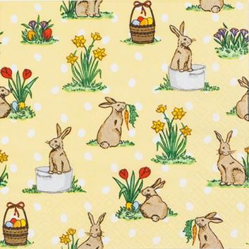 HomeFashion Servietten; 33 x 33 cm; Little Rabbits: Osterhäschen; gelb-bunt; 212116; 3-lagig; 1/4-Falz (quadratisch); Zelltuch