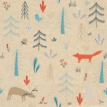 HomeFashion Recycling-Servietten -Eco Line-; 33 x 33 cm; Eco Line: Forest Animals: Fuchs & Co.; orange-blau-braun auf Natur; 242106; 2-lagig