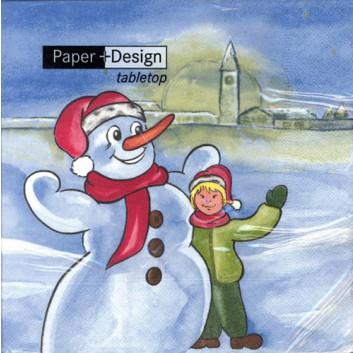 Paper + Design Winter-Servietten; 33 x 33 cm; Snowman; blau; 60136; 3-lagig; 1/4 Falz (quadratisch); Zelltuch
