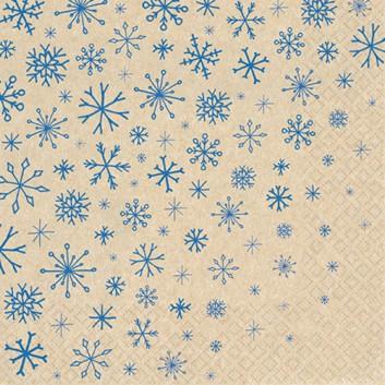 HomeFashion Recycling-Servietten -Eco Line-; 33 x 33 cm; Eco Line: Snowflakes Falling; blau auf Natur; 640002; 2-lagig; 1/4-Falz (quadratisch)