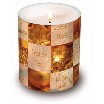 Paper + Design Weihnachts-Dekor-Kerze; Greetings; gold; Durchmesser: 10,5 cm, Höhe: 12 cm; rund