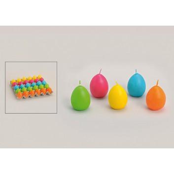 Osterei-Kerzen; Osterei; einfarbig, 5 Farben; ca. 5 cm; Einzelfarben nur in begrenzter Stückzahl
