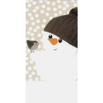 Braun & Company Winter-Design-Taschentücher; Snowfriends (Schneemann mit Vogel); 1029; 22 x 21 cm; 1/8 gefalzt auf 11 x 5,5 cm