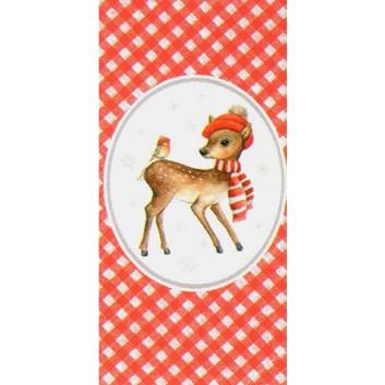 Braun & Company Winter-Design-Taschentücher; Little Bambi (Reh + Vögelchen); 1032; 22 x 21 cm; 1/8 gefalzt auf 11 x 5,5 cm