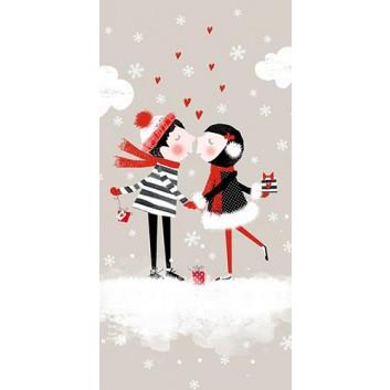 Braun & Company Winter-Design-Taschentücher; Christmas Kiss; 1042; 22 x 21 cm; 1/8 gefalzt auf 11 x 5,5 cm; 4-lagig, Zelltuch; chlorfrei gebleicht
