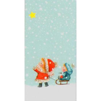 Braun & Company Winter-Design-Taschentücher; Winterwunder (Kinder mit Schlitten); 1046; 22 x 21 cm; 1/8 gefalzt auf 11 x 5,5 cm