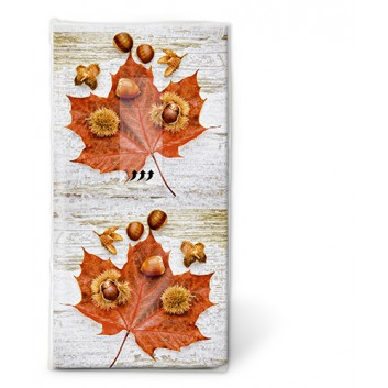 Paper + Design Taschentücher mit Design; Herbstlaub; 01367; 22 x 21 cm; 1/8 gefalzt auf 11 x 5,5 cm; 4-lagig, Zelltuch; chlorfrei gebleicht