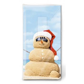 Paper + Design Winter-Design-Taschentücher; Beach Snowman: Strand Schneemann; 01421; 22 x 21 cm; 1/8 gefalzt auf 11 x 5,5 cm
