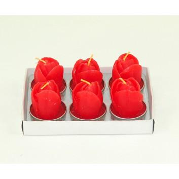Teelichtkerzen; Tulpen; rot; ca. 4 x 6 cm; 6er Set