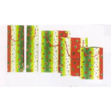 Präsent-Tragebeutel für CD's; 16 + 5 x 15 cm; Mira: Sterne; grün-creme-rot-gold; Lack mit weisser Kordel; Papier, glanzplastifiziert; ca. 65 g/qm