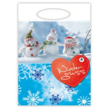 Winter-Abriss-Tragetasche 100-Pack; 24 x 35 cm; Fotomotiv:Schneemänner +Text:Wintergruss; blau-rot; ca. 18 my; HDPE