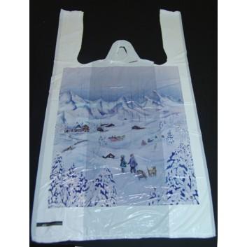 Winter-Hemdchen-Tragetasche; 25 + 12 x 47 cm; Winterlandschaft; ca. 12 my; HDPE; Druck 1-seitig; geblockt = zum Abreissen