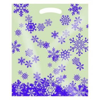 Winter-Tragetasche; 37 + 10 x 45 cm; Eiskristall; violett-creme; ca. 50 my; LDPE; transluzent, verstärktes Griffloch
