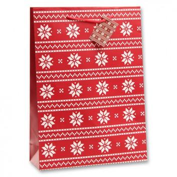 Weihnachts-Präsent-Tragetasche; 25 + 8,5 x 34,5 cm; Schneeflocken; rot-weiß; eingeknüpfte Kordel und Anhänger; Papier, matt; ca. 157 g/qm