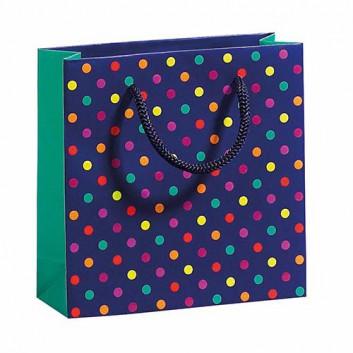 Exclusiv-Tragetasche; 150 + 55 x 150 mm; Colorful Dots: Punkte; bunt auf dunkelblau; Kordel, Mattkaschierung; Papier mit UV-Spot-Lack und Prägung