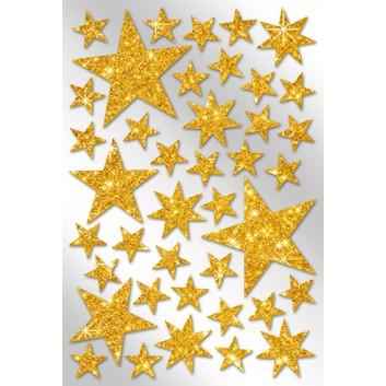 Weihnachts-Schmuck-Etiketten; 115 x 170 mm (Blattformat); Glimmersterne; gold; 40 Sterne, sortierte Größen: 15 - 50 mm; 4606-0009