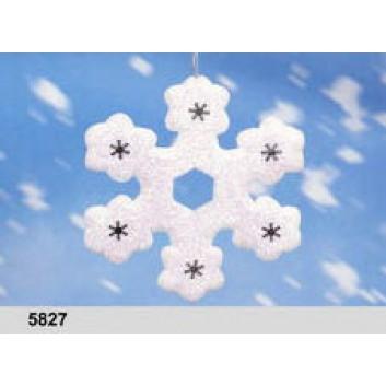 Schneeflocke, groß; 20 x 20 x 5 cm; Eiskristall; weiß, beglimmert; aus Styropor; mit Aufhängefaden