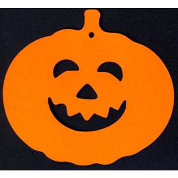 Halloween-Anhängekarte, Karton; ca. 9 x 8,5 cm; Halloween-Kürbis; orange; mit Aufhängeloch/-stanzung; ohne Kuvert