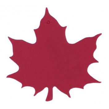 Herbst-Anhängekarte, Karton; ca. 8 x 9 cm; Ahornblatt; rot; mit Aufhängeloch/-stanzung; ohne Kuvert