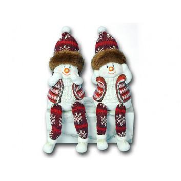 Winter-Deko: Figur; Schneemann-Kantensitzer +Schlenkerbein; rot-weiß; ca. 7 x 6 x 13 cm; 2 Motive sortiert; Keramik; Lieferung nach Verfügbarkeit