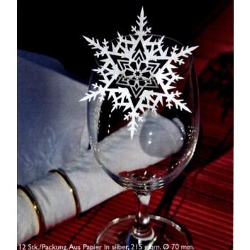 Winter-Deko-Streuartikel; Eiskristall; silber; ca. 70 mm; Papier 215 g/qm; Lasergestanzt