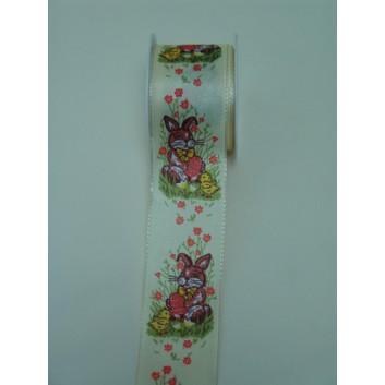 GoldiDecor Geschenkband; 37 mm x 2 m; Hase + Küken; creme-bunt; Drahtkante; Polyester; - Abverkauf Sonderpreis -
