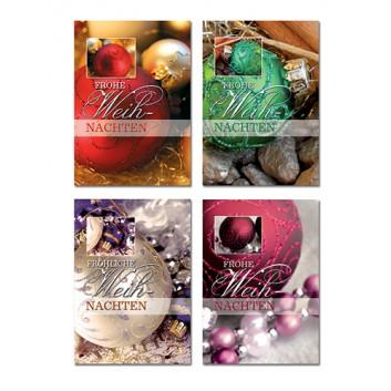 Sü Weihnachts-Anhängekärtchen; 55 x 75 mm; Fotomotiv: Kugeln; 4-fach sortiert; 23_4272; mit goldenem Anhängefaden; kein Kuvert