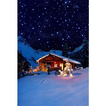 Horn Weihnachtskarte, ohne Text; 115 x 170 mm; verschneite Almhütte; blau; 22-H1485; Hochformat; weiß