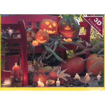 Sü Glückwunschkarte, Halloween; 120 x 170 mm; Fotokarte: Halloweenkürbisse; orange; UKF-9550; Querformat; gelb