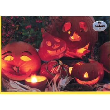 Sü Glückwunschkarte, Halloween; 120 x 170 mm; Fotokarte: Halloweenkürbisse; orange; UKF-9957; Querformat; gelb