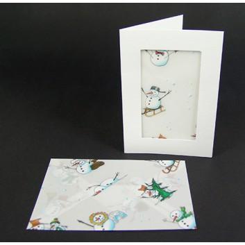 folia Passepartout mit winterlichem Kuvert; P: weiß, Kuvert: Schneemänner; DIN A6 hoch; Kuvert transparent, naßklebend; 3 Karten + 3 Kuverts