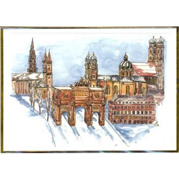 Winter-Glückwunschkarte, ohne Text; 117 x 163 mm; München: Aquarell: Kirchtürme; Rand = Goldprägung; Querformat; weiß, naßklebend, Spitzklappe