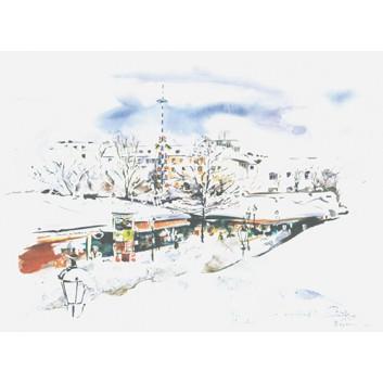 Glückwunschkarte, Aquarell-Kunstkarte; 120 x 168 mm; München: verschneiter Viktualienmarkt; Aquarell-Künstlerkarte; B-026; Querformat