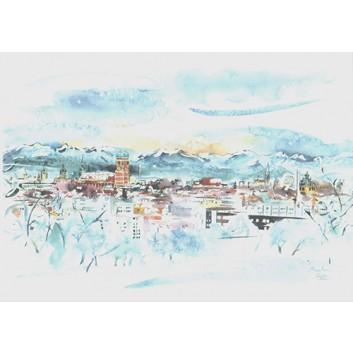 Glückwunschkarte, Aquarell-Kunstkarte; 120 x 168 mm; München: Panorama mit Alpensilhoutte; Aquarell-Künstlerkarte; B-028; Querformat