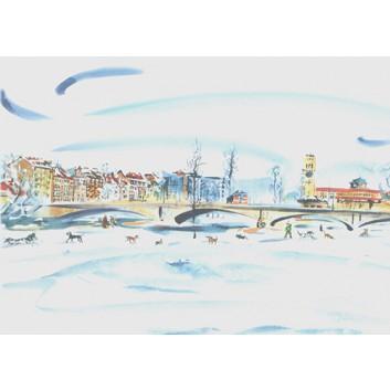 Glückwunschkarte, Aquarell-Kunstkarte; 120 x 168 mm; München: Reichenbachbrücke; Aquarell-Künstlerkarte; B-030; Querformat