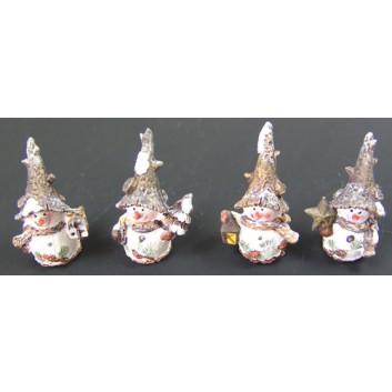 Winter-Deko: Figur; Schneemann, rustikal; weiß-braun; ca. 2,5 x 6 cm; verschiedene Motive, sortiert; Poly