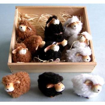 Schafe; weiß, schwarz, braun; ca. 5 x 4 cm; 3-fach sortiert; Keramik