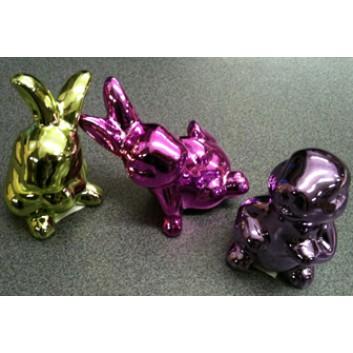 Deko-Hase, Porzellan; lila; ca. 5 x 5 x 9,5 cm
