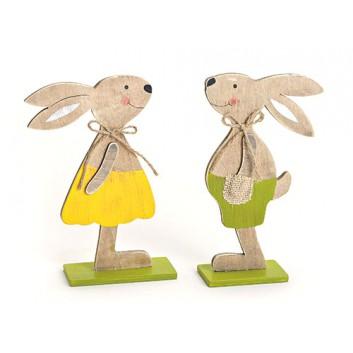 Deko-Hasen-Pärchen; Mädchen und Junge; creme-braun; ca. 14 x 5x 20 cm