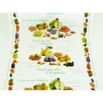 Brot-/Konditorseide, Aktionsmotiv; Breite: 50 cm; Obst; Erdbeer, Pflaume, Apfel; ca. 35 g/qm; Kraftpapier
