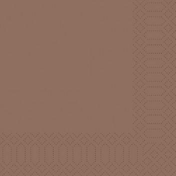 Duni Servietten 3-lagig; 33 x 33 cm; uni; chestnut (kastanienbraun); 3-lagig; 1/4-Falz (quadratisch); Zelltuch