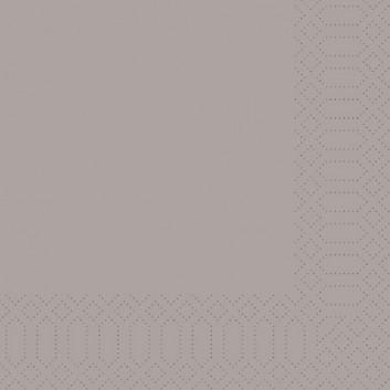 Duni Servietten 3-lagig; 33 x 33 cm; uni; greige (sandgrau); 3-lagig; 1/4-Falz (quadratisch); Zelltuch