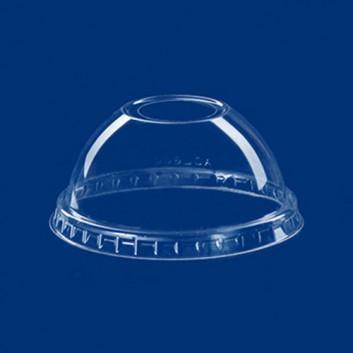 Dom-Deckel mit Öffnung für 821097/98/99; für Clear-Cup-Becher #821097/98/99; klar, unbedruckt; mit Loch, gewölbt