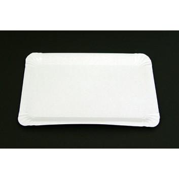 Hosti-Pfiffkuss Pappteller, beschichtet; 16 x 23 cm; weiß; Hartpapier, PE beschichtet; Rechteckig; ideal für feuchte oder fettende Speisen