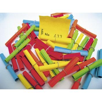 Lose: Treffer ab 1001; je 50 Treffernummern; 5 Farben sortiert; gerollt mit Pappring; 40 x 46 mm