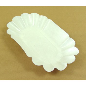 Hosti-Pfiffkuss Pappschale; 14 x 22 x 3,75 cm; weiß; Hartpappe, PE-beschichtet; eckig